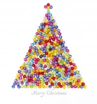 """Christmas Tree Decorate By Colorful Beads On White Background"" by Anusorn P nachol / FreeDigitalPhotos.net"